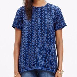 Madewell Silk geometric print top